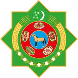 Embleem van Turkmenistan. Afgebeeld zijn het Turkmeense paardenras Akhal-Teke, 5 tapijtornamenten, 2 korenaren, 7 katoenplanten en een wassende maan met 5 sterren.
