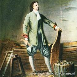 Nederlandse ansichtkaart waarop Peter de Grote aan het werk is als timmerman.