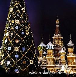 Kerstboom bij de Basiliuskathedraal in Moskou. / Foto: © Lyudmila Izmaylova.
