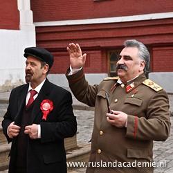 Op de foto met Lenin- en Stalindubbelgangers in Moskou. / Foto: © 2012 Harry van Iersel.