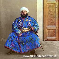 De laatste emir van Boechara, Oezbekistan. Vroege kleurenfoto van Sergei Mikhailovich Prokudin-Gorskii (1863-1944), gemaakt in 1911 tijdens zijn reizen door het Russische rijk.