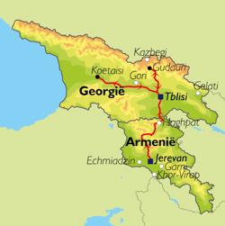 Routekaart van de reis Armenië en Georgië.