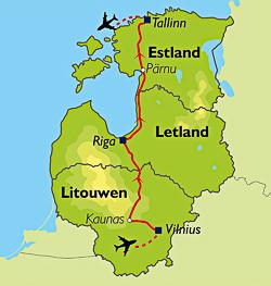 Routekaart van de reis naar Estland, Letland en Litouwen.