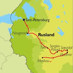 Kaart reis 'De steden van de Gouden Ring, incl. Moskou en Sint-Petersburg'.