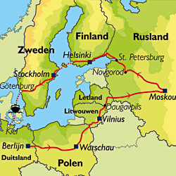 Routekaart van de Grand Tour Rusland.