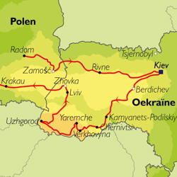 Routekaart van de Grand Tour Oekraïne.