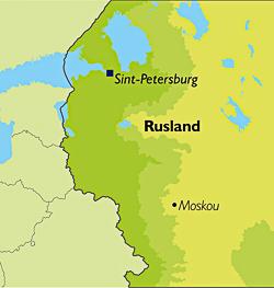 Kaart van Rusland waarop de steden Moskou en Sint-Petersburg zijn aangegeven.