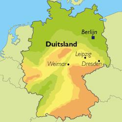 Kaart met de steden Weimar, Dresden en Leipzig..