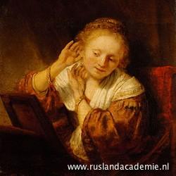 Rembrandt van Rijn (1606-1669) / 'Jonge vrouw met oorbellen', 1657 / Hermitage Museum, Sint-Petersburg.