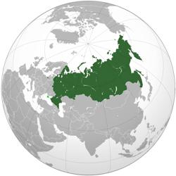 Wereldbol met Rusland.