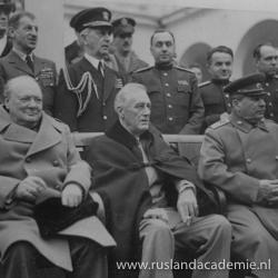 Churchill, Roosevelt en Stalin op de Conferentie van Jalta, 1945.
