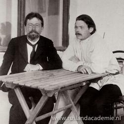 Foto van Anton Tsjechov en Maksim Gorki in Jalta, de Krim, ca. 1900.
