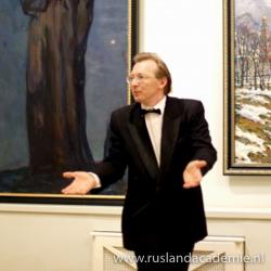 Dirigent van het Russische ensemble 'Zlatoust' Mikhail Borodyanski.